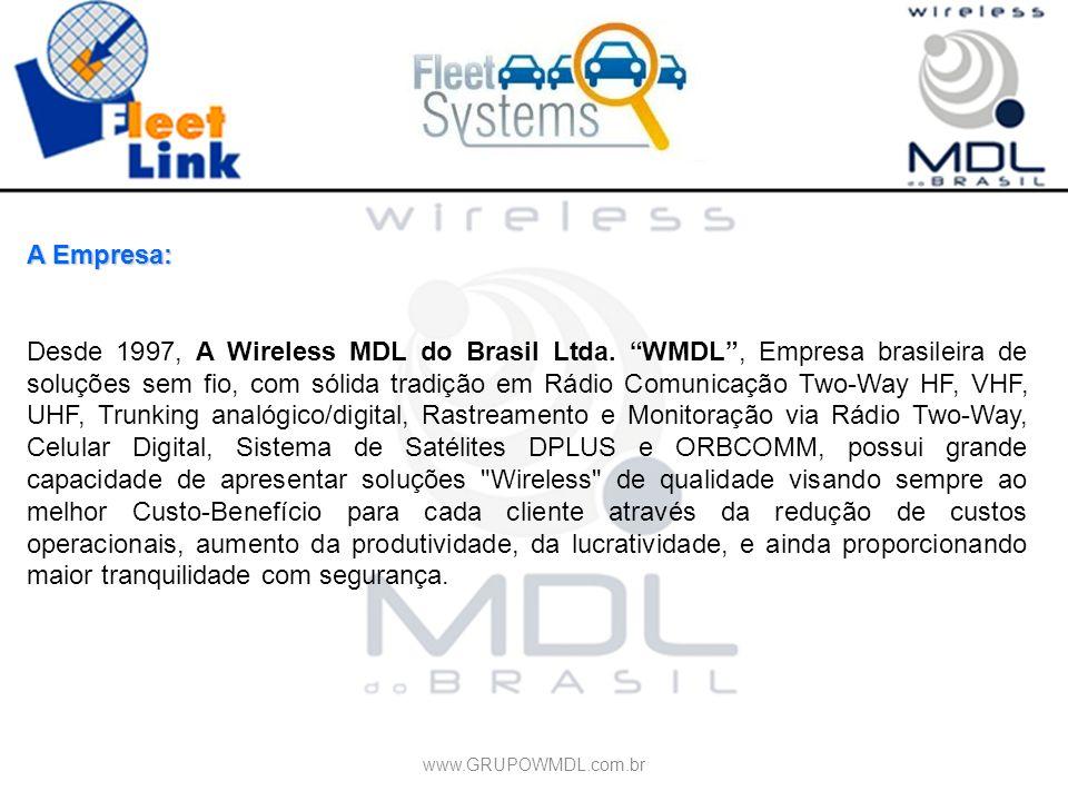 A Empresa: Desde 1997, A Wireless MDL do Brasil Ltda. WMDL, Empresa brasileira de soluções sem fio, com sólida tradição em Rádio Comunicação Two-Way H