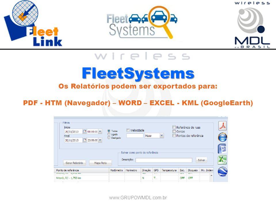 FleetSystems Os Relatórios podem ser exportados para: PDF - HTM (Navegador) – WORD – EXCEL - KML (GoogleEarth) www.GRUPOWMDL.com.br
