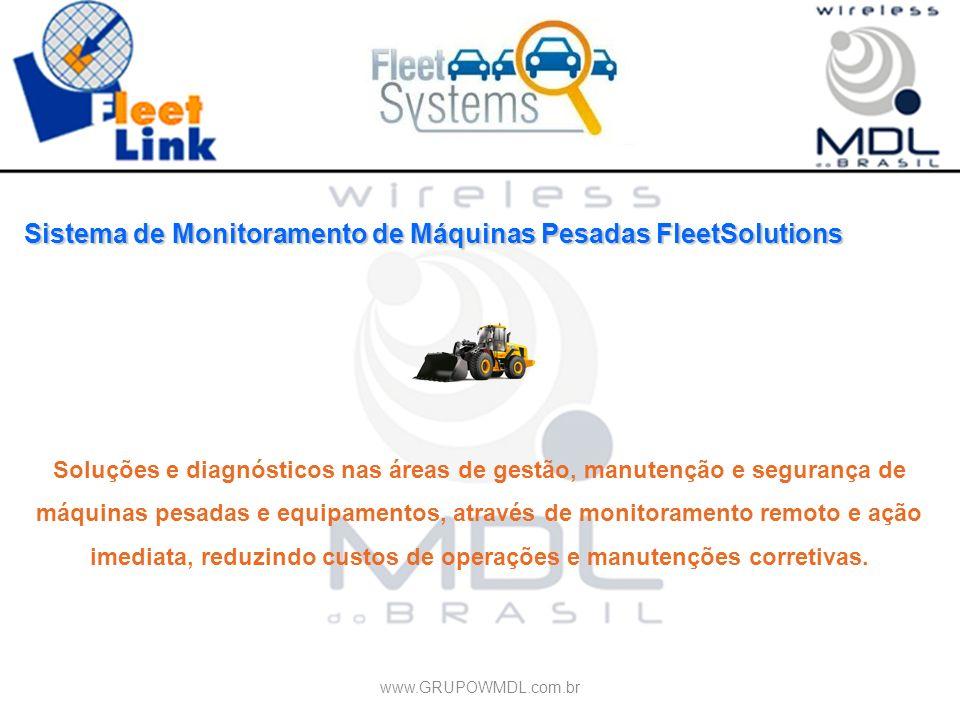 Sistema de Monitoramento de Máquinas Pesadas FleetSolutions Soluções e diagnósticos nas áreas de gestão, manutenção e segurança de máquinas pesadas e