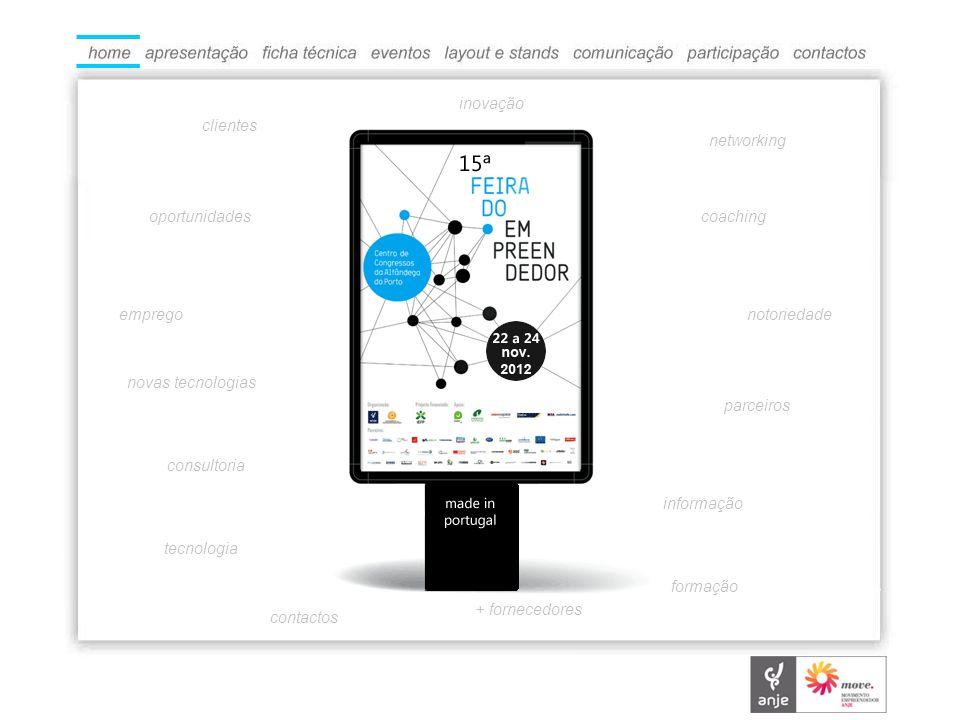 O QUE É A ANJE – Associação Nacional de Jovens Empresários, através da marca Academia dos Empreendedores e com o apoio do Instituto de Emprego e Formação Profissional organiza de 22 a 24 de Novembro de 2012, a 15ª edição da Feira do Empreendedor subordinada ao tema Made in Portugal.
