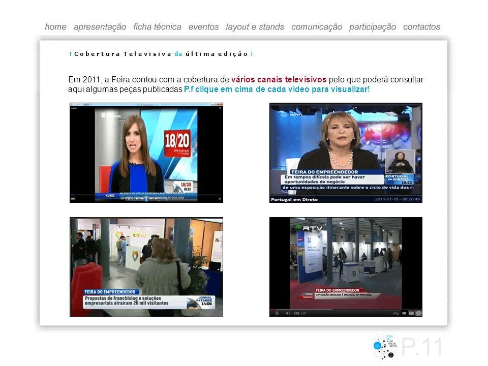 Em 2011, a Feira contou com a cobertura de vários canais televisivos pelo que poderá consultar aqui algumas peças publicadas P.f clique em cima de cad