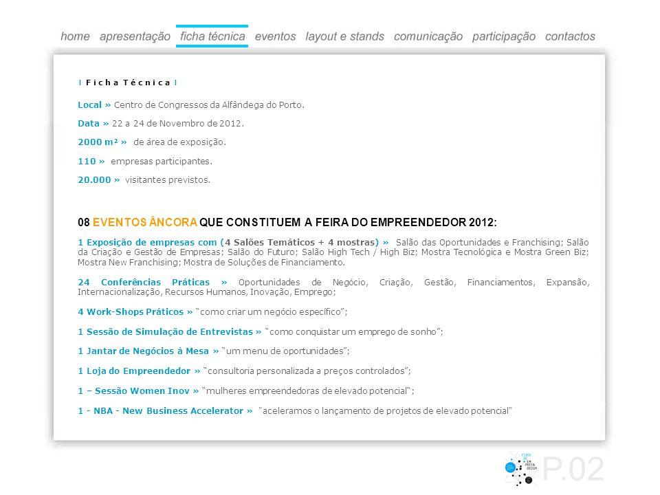 Local » Centro de Congressos da Alfândega do Porto. Data » 22 a 24 de Novembro de 2012. 2000 m² » de área de exposição. 110 » empresas participantes.