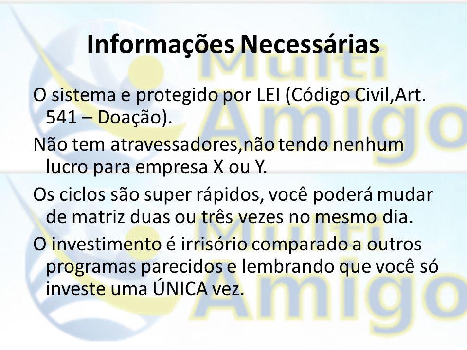 Informações Necessárias O sistema e protegido por LEI (Código Civil,Art. 541 – Doação). Não tem atravessadores,não tendo nenhum lucro para empresa X o