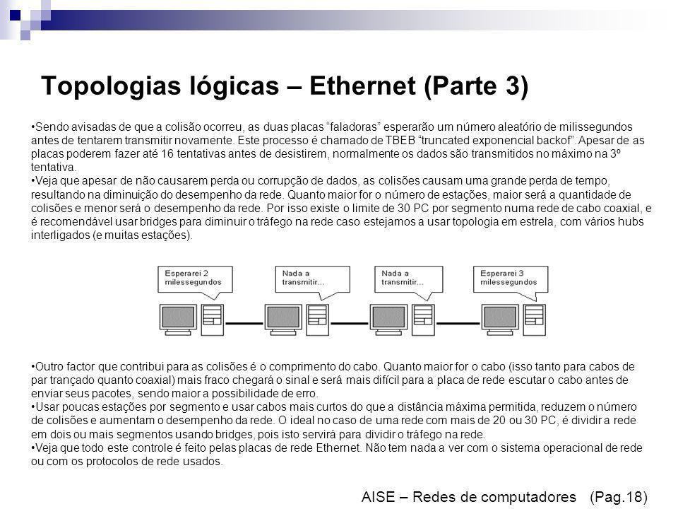 Topologias lógicas – Ethernet (Parte 3) AISE – Redes de computadores (Pag.18) Sendo avisadas de que a colisão ocorreu, as duas placas faladoras espera