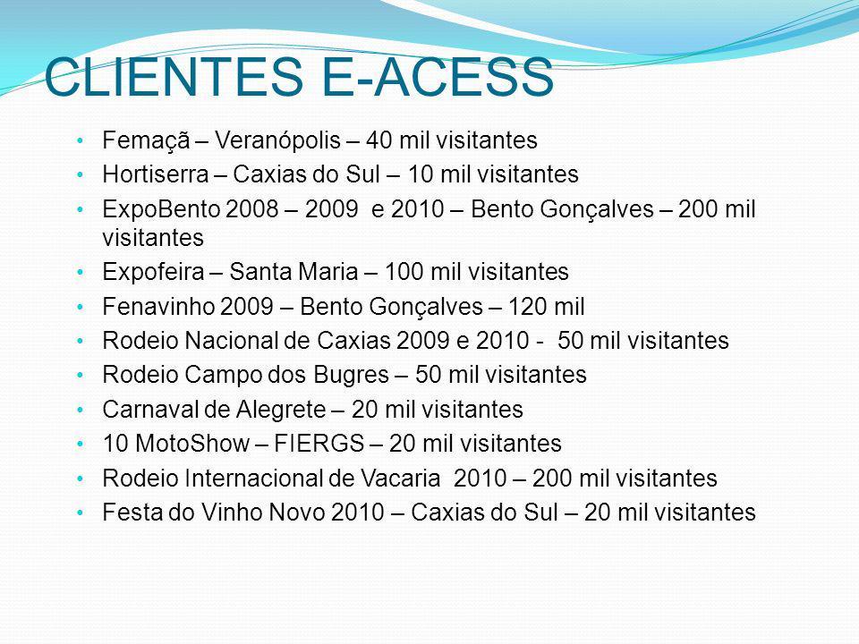 CLIENTES E-ACESS Femaçã – Veranópolis – 40 mil visitantes Hortiserra – Caxias do Sul – 10 mil visitantes ExpoBento 2008 – 2009 e 2010 – Bento Gonçalve