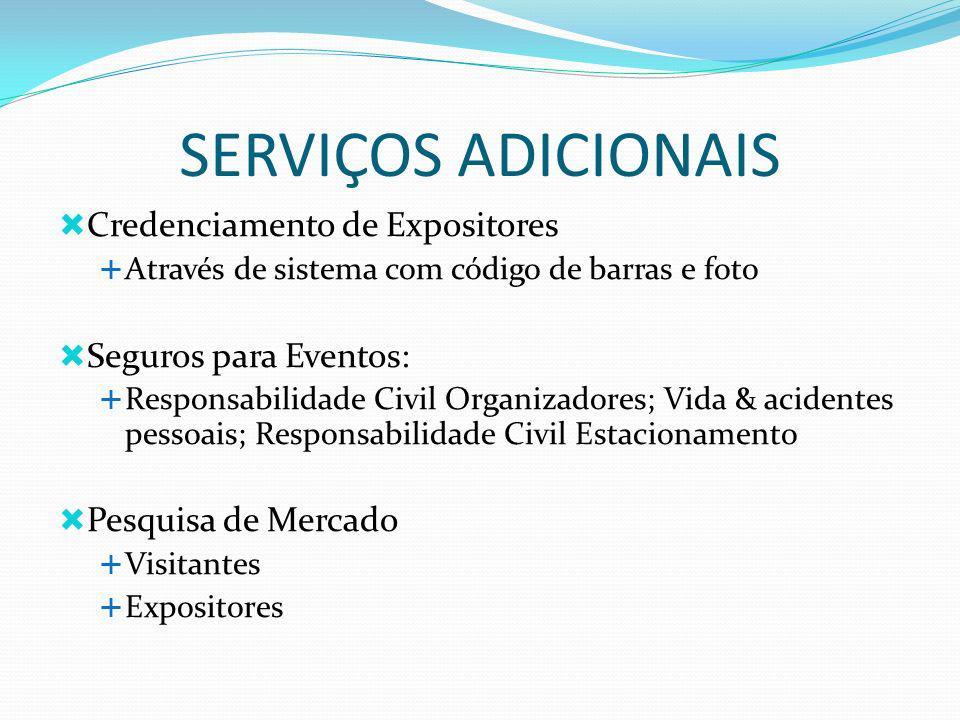 SERVIÇOS ADICIONAIS Credenciamento de Expositores Através de sistema com código de barras e foto Seguros para Eventos: Responsabilidade Civil Organiza