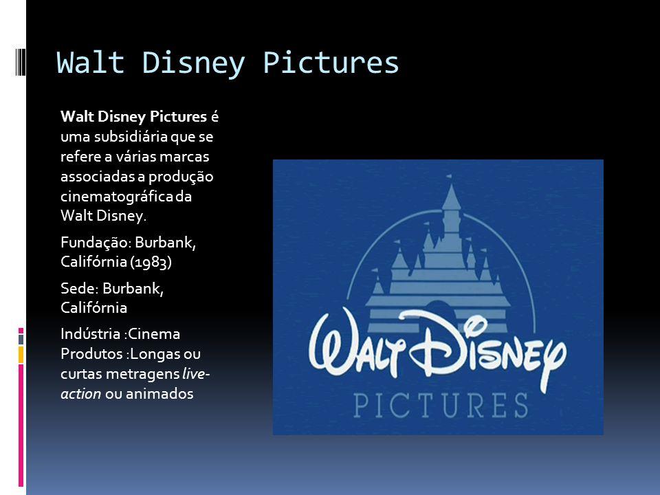 Walt Disney Pictures Walt Disney Pictures é uma subsidiária que se refere a várias marcas associadas a produção cinematográfica da Walt Disney. Fundaç