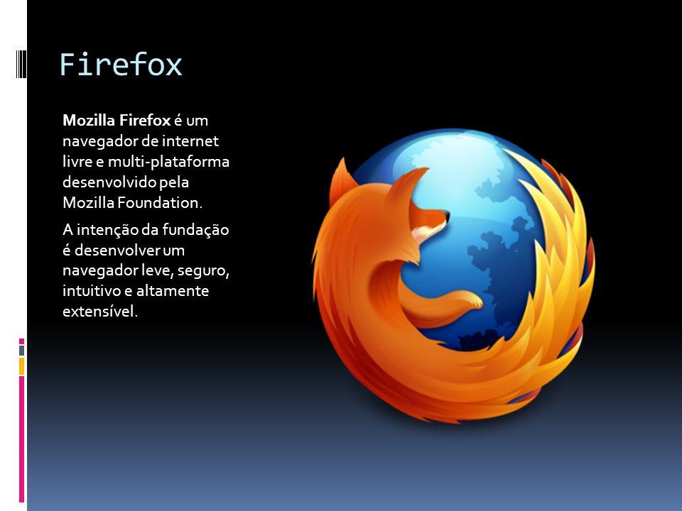 Firefox Mozilla Firefox é um navegador de internet livre e multi-plataforma desenvolvido pela Mozilla Foundation. A intenção da fundação é desenvolver