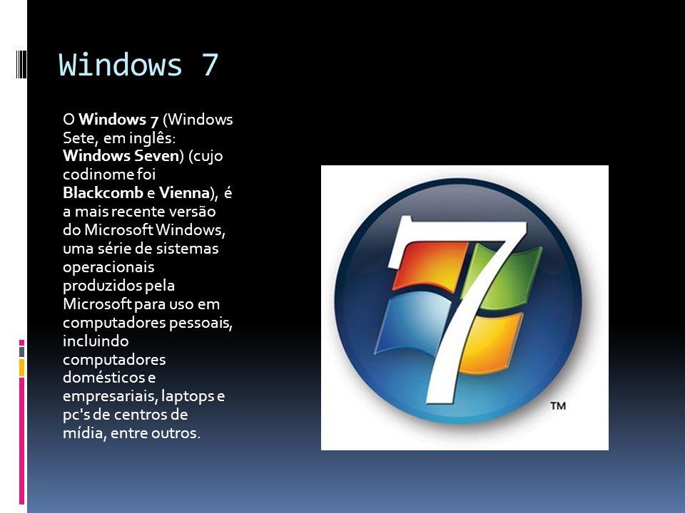 Windows 7 O Windows 7 (Windows Sete, em inglês: Windows Seven) (cujo codinome foi Blackcomb e Vienna), é a mais recente versão do Microsoft Windows, u