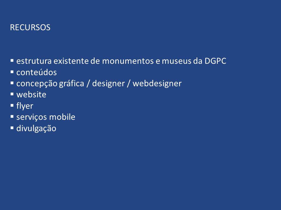 RECURSOS estrutura existente de monumentos e museus da DGPC conteúdos concepção gráfica / designer / webdesigner website flyer serviços mobile divulgação