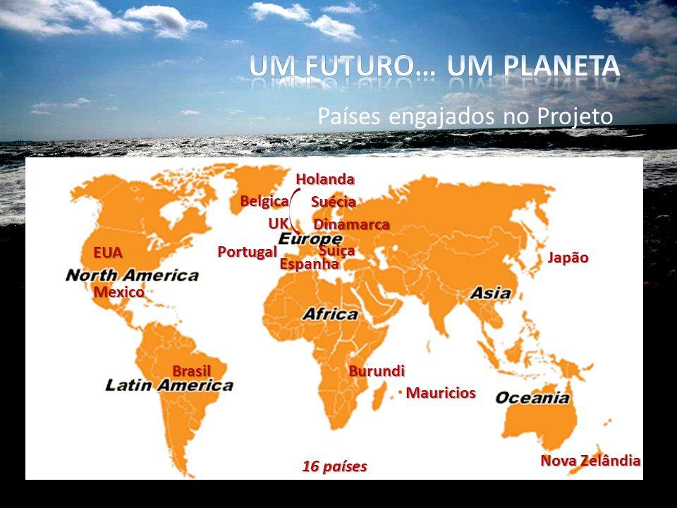 Países engajados no Projeto Suécia Brasil EUA Suiça Dinamarca Espanha UK Portugal Mexico Burundi Mauricios Nova Zelândia Japão Holanda Belgica 16 países