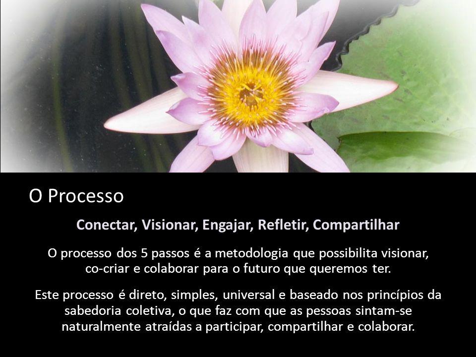 O Processo Conectar, Visionar, Engajar, Refletir, Compartilhar O processo dos 5 passos é a metodologia que possibilita visionar, co-criar e colaborar para o futuro que queremos ter.