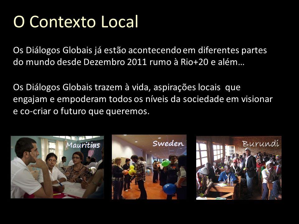 O Contexto Local Os Diálogos Globais já estão acontecendo em diferentes partes do mundo desde Dezembro 2011 rumo à Rio+20 e além… Os Diálogos Globais trazem à vida, aspirações locais que engajam e empoderam todos os níveis da sociedade em visionar e co-criar o futuro que queremos.
