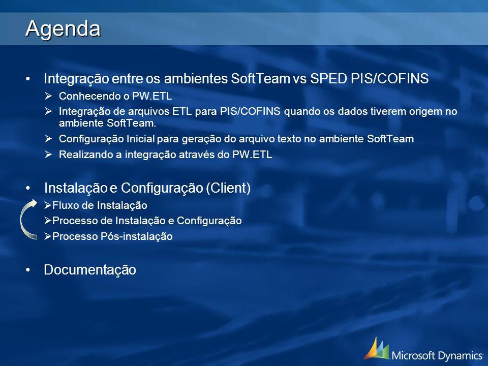 Agenda Integração entre os ambientes SoftTeam vs SPED PIS/COFINS Conhecendo o PW.ETL Integração de arquivos ETL para PIS/COFINS quando os dados tivere