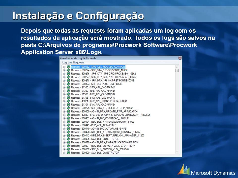 Depois que todas as requests foram aplicadas um log com os resultados da aplicação será mostrado. Todos os logs são salvos na pasta C:\Arquivos de pro