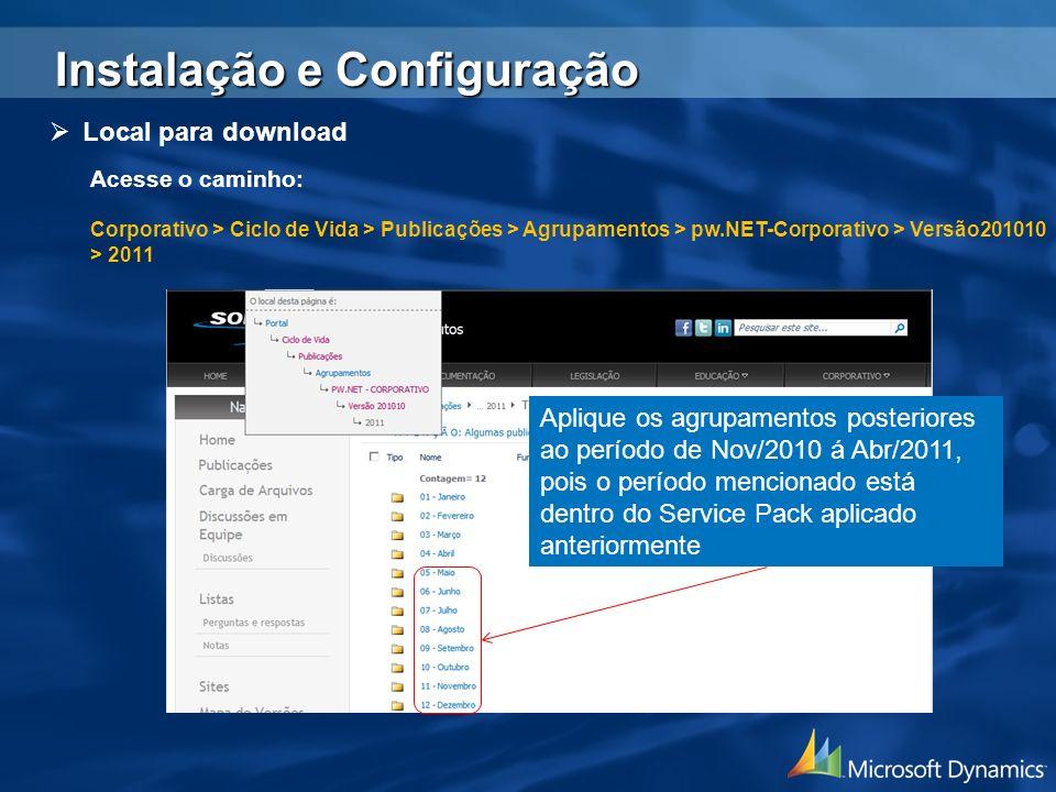 Local para download Acesse o caminho: Corporativo > Ciclo de Vida > Publicações > Agrupamentos > pw.NET-Corporativo > Versão201010 > 2011 Aplique os a