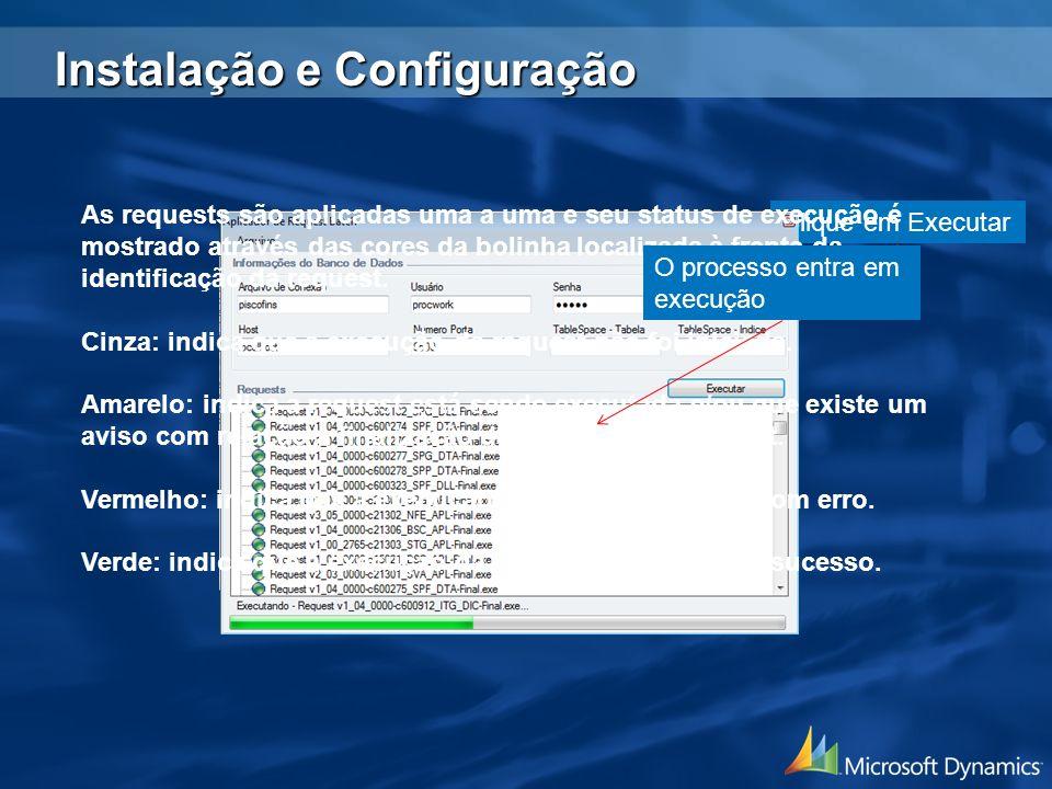 Clique em Executar As requests são aplicadas uma a uma e seu status de execução é mostrado através das cores da bolinha localizada à frente da identif