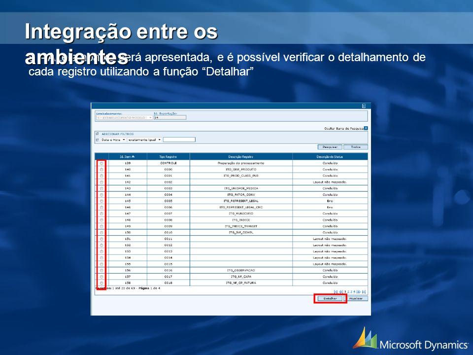 9 – A tela abaixo será apresentada, e é possível verificar o detalhamento de cada registro utilizando a função Detalhar Integração entre os ambientes