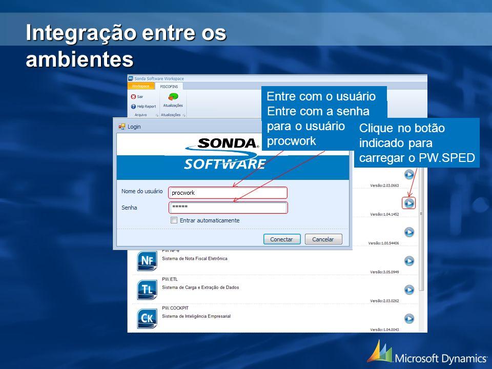 Entre com o usuário procwork Entre com a senha para o usuário procwork Clique no botão indicado para carregar o PW.SPED Integração entre os ambientes