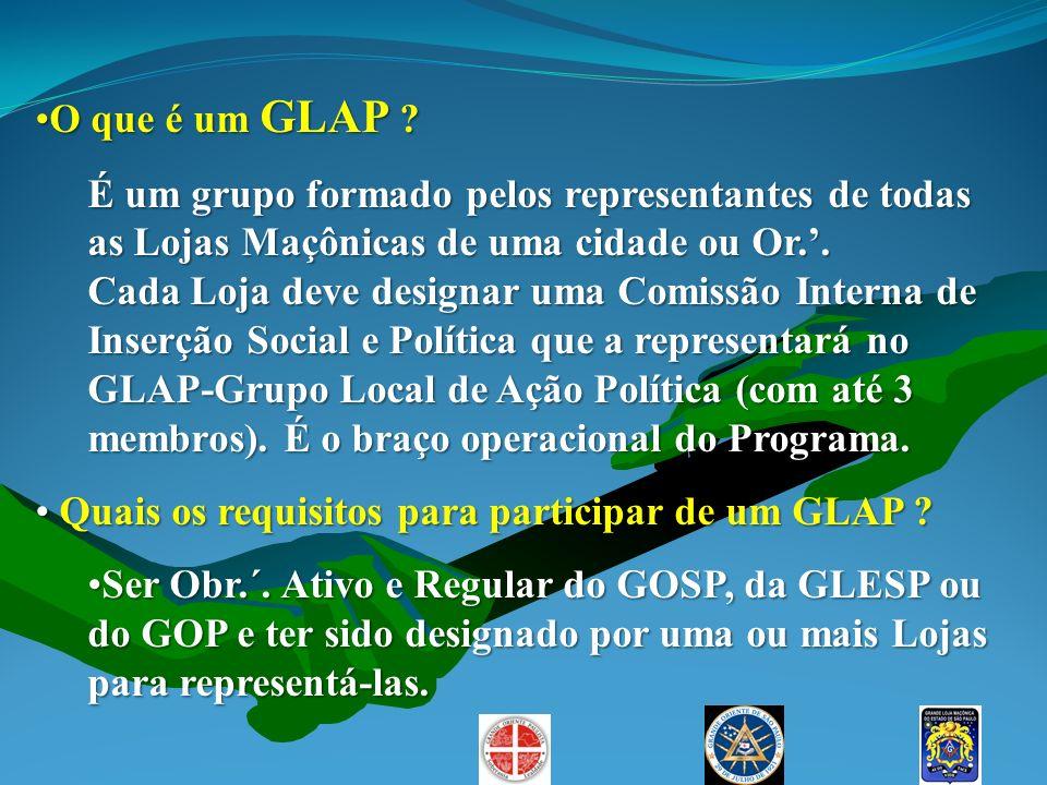 O que é um GLAP ?O que é um GLAP ? É um grupo formado pelos representantes de todas as Lojas Maçônicas de uma cidade ou Or.. Cada Loja deve designar u