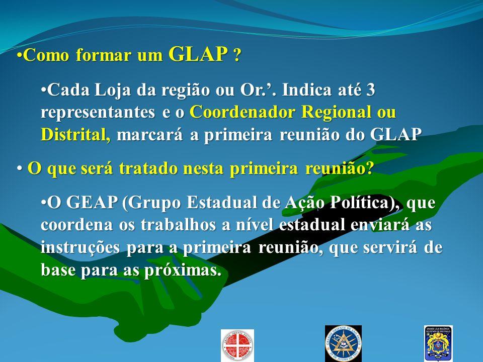 Como formar um GLAP ?Como formar um GLAP ? Cada Loja da região ou Or.. Indica até 3 representantes e o Coordenador Regional ou Distrital, marcará a pr