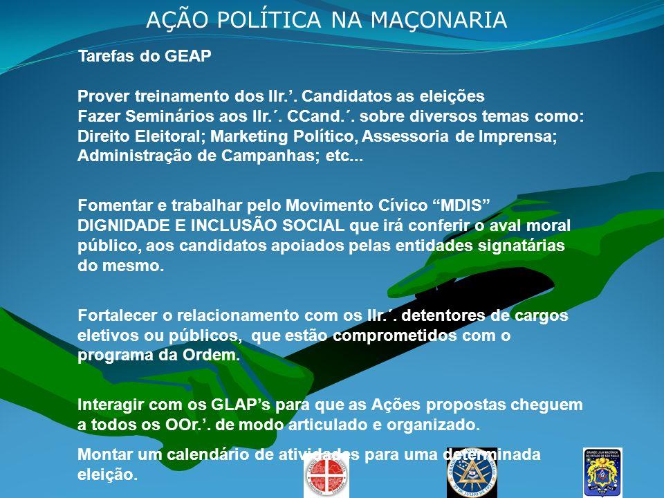 Tarefas do GEAP Prover treinamento dos IIr.. Candidatos as eleições Fazer Seminários aos IIr.´. CCand.´. sobre diversos temas como: Direito Eleitoral;