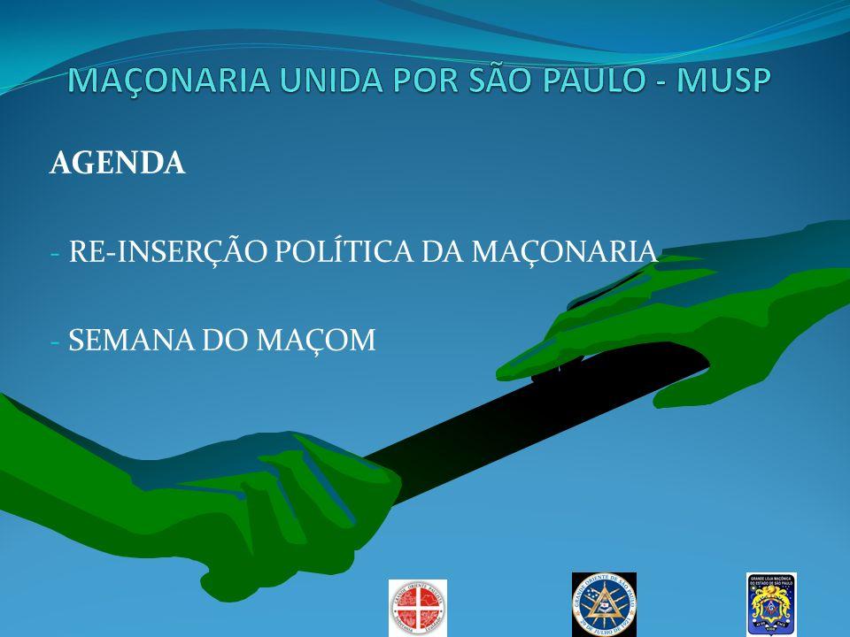 AGENDA - RE-INSERÇÃO POLÍTICA DA MAÇONARIA - SEMANA DO MAÇOM