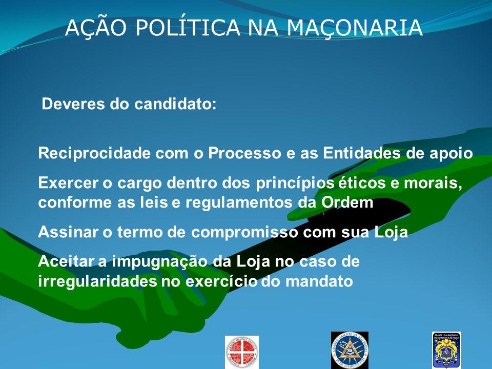 AÇÃO POLÍTICA NA MAÇONARIA Deveres do candidato: Reciprocidade com o Processo e as Entidades de apoio Exercer o cargo dentro dos princípios éticos e m