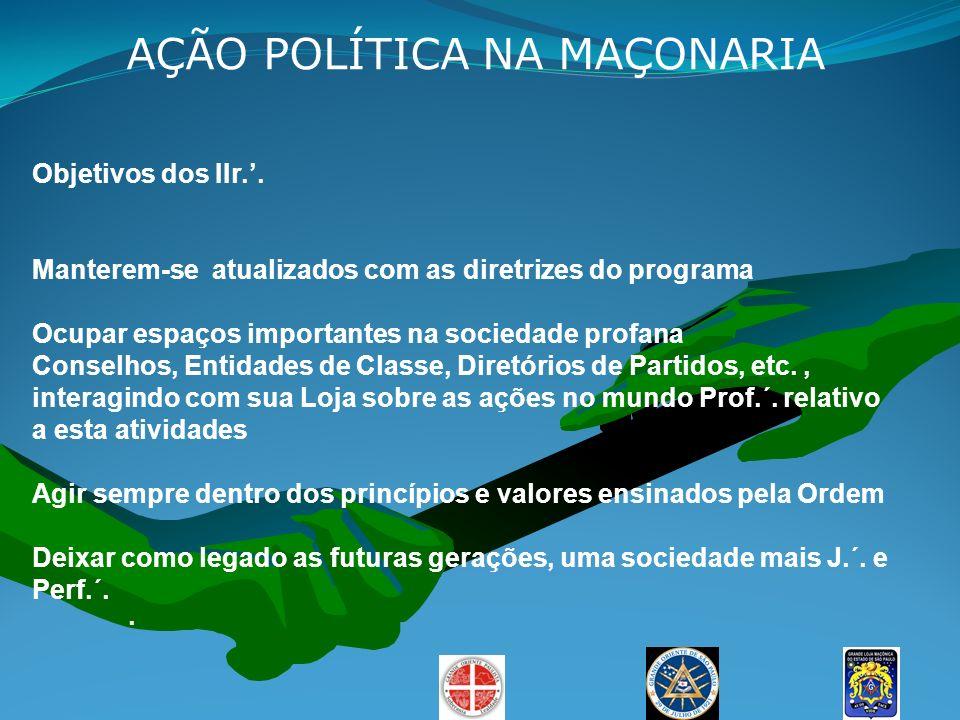 AÇÃO POLÍTICA NA MAÇONARIA Objetivos dos IIr.. Manterem-se atualizados com as diretrizes do programa Ocupar espaços importantes na sociedade profana C