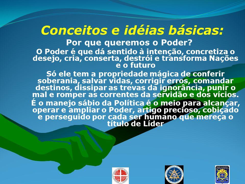 Conceitos e idéias básicas: Por que queremos o Poder? O Poder é que dá sentido à intenção, concretiza o desejo, cria, conserta, destrói e transforma N