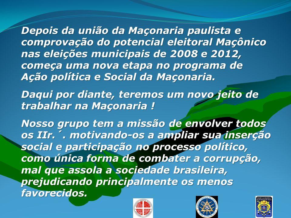 Depois da união da Maçonaria paulista e comprovação do potencial eleitoral Maçônico nas eleições municipais de 2008 e 2012, começa uma nova etapa no p