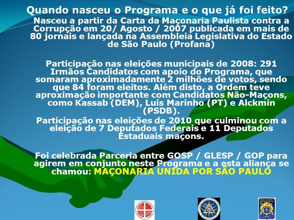 Quando nasceu o Programa e o que já foi feito? Nasceu a partir da Carta da Maçonaria Paulista contra a Corrupção em 20/ Agosto / 2007 publicada em mai