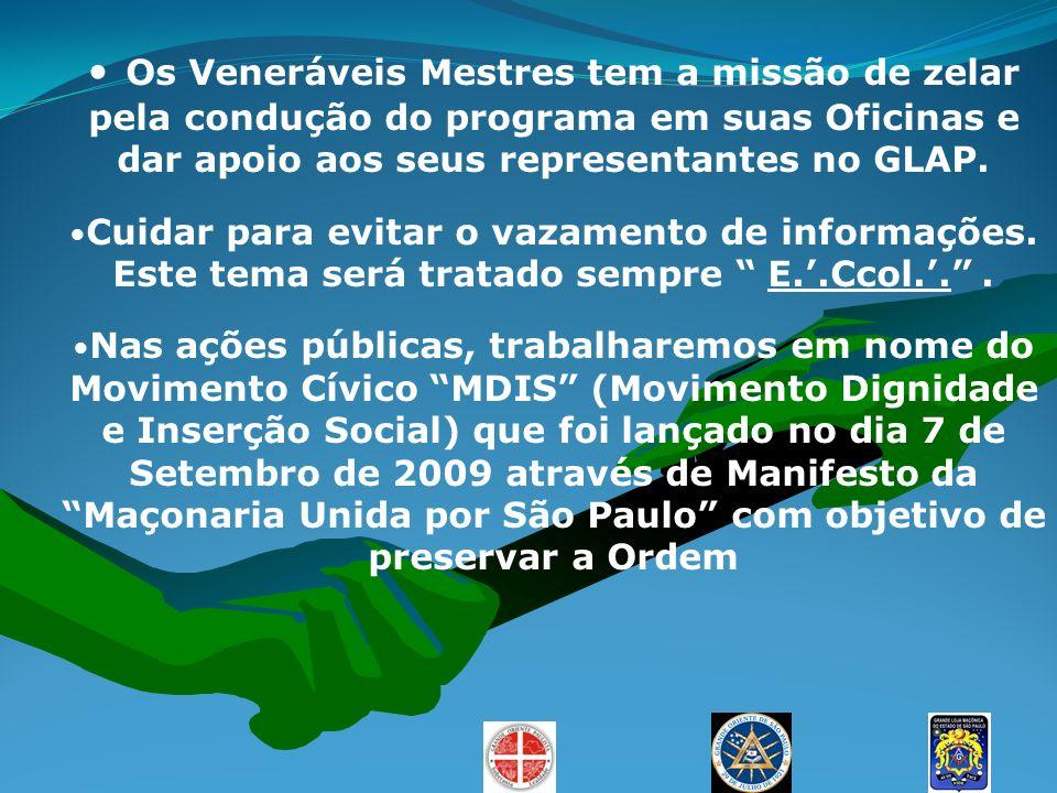 Os Veneráveis Mestres tem a missão de zelar pela condução do programa em suas Oficinas e dar apoio aos seus representantes no GLAP. Cuidar para evitar