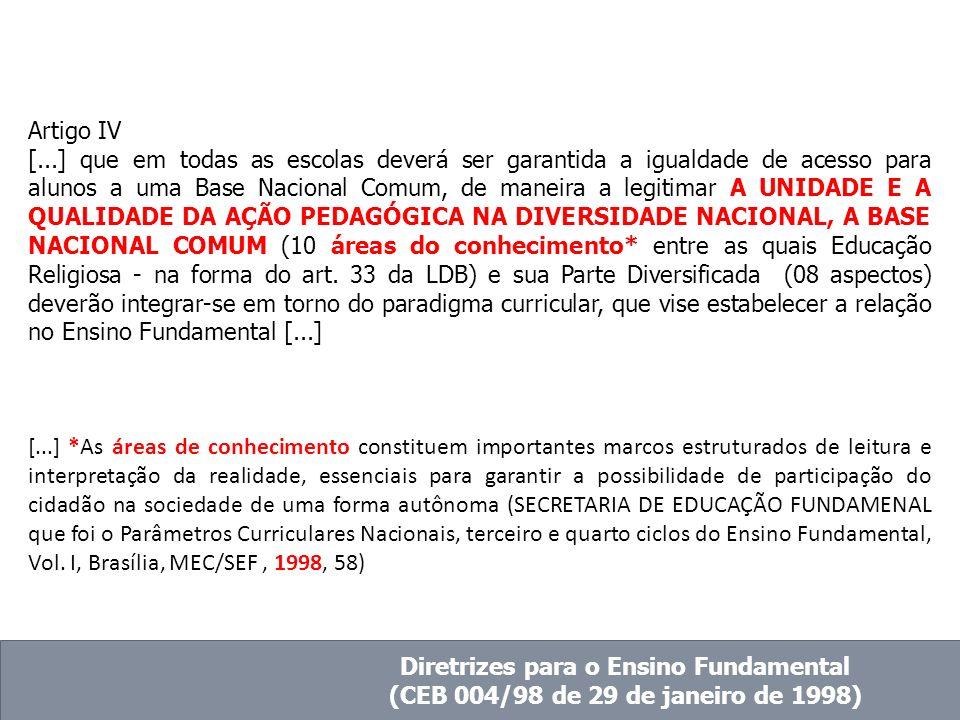 Artigo IV [...] que em todas as escolas deverá ser garantida a igualdade de acesso para alunos a uma Base Nacional Comum, de maneira a legitimar A UNI