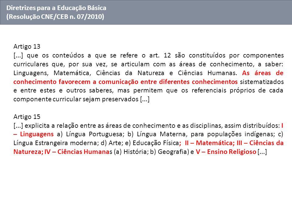 Artigo 13 [...] que os conteúdos a que se refere o art. 12 são constituídos por componentes curriculares que, por sua vez, se articulam com as áreas d