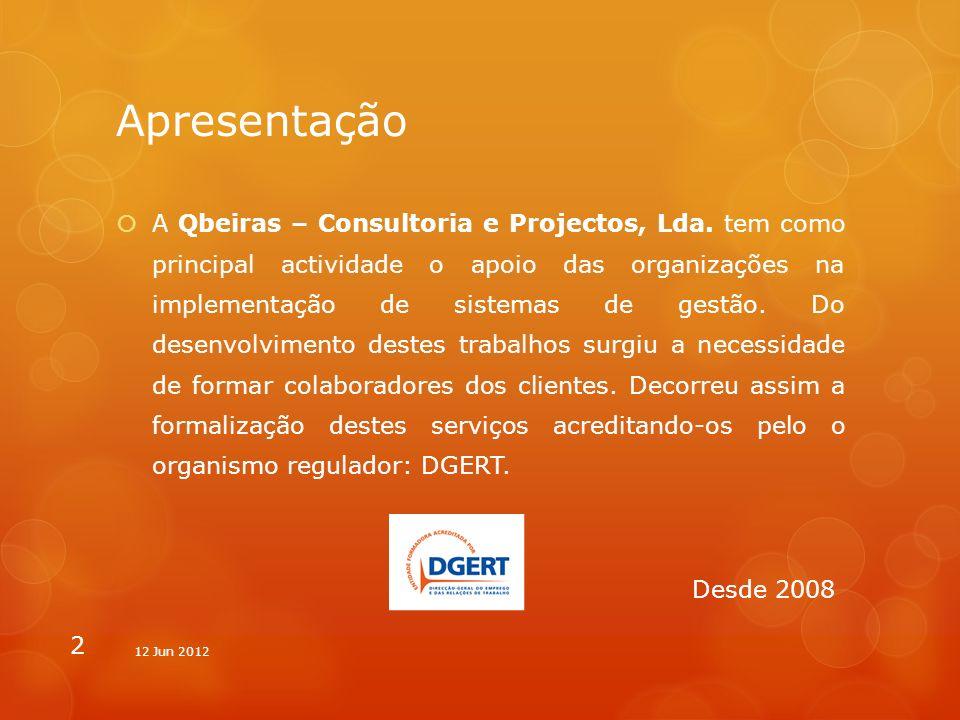 Apresentação A Qbeiras – Consultoria e Projectos, Lda. tem como principal actividade o apoio das organizações na implementação de sistemas de gestão.