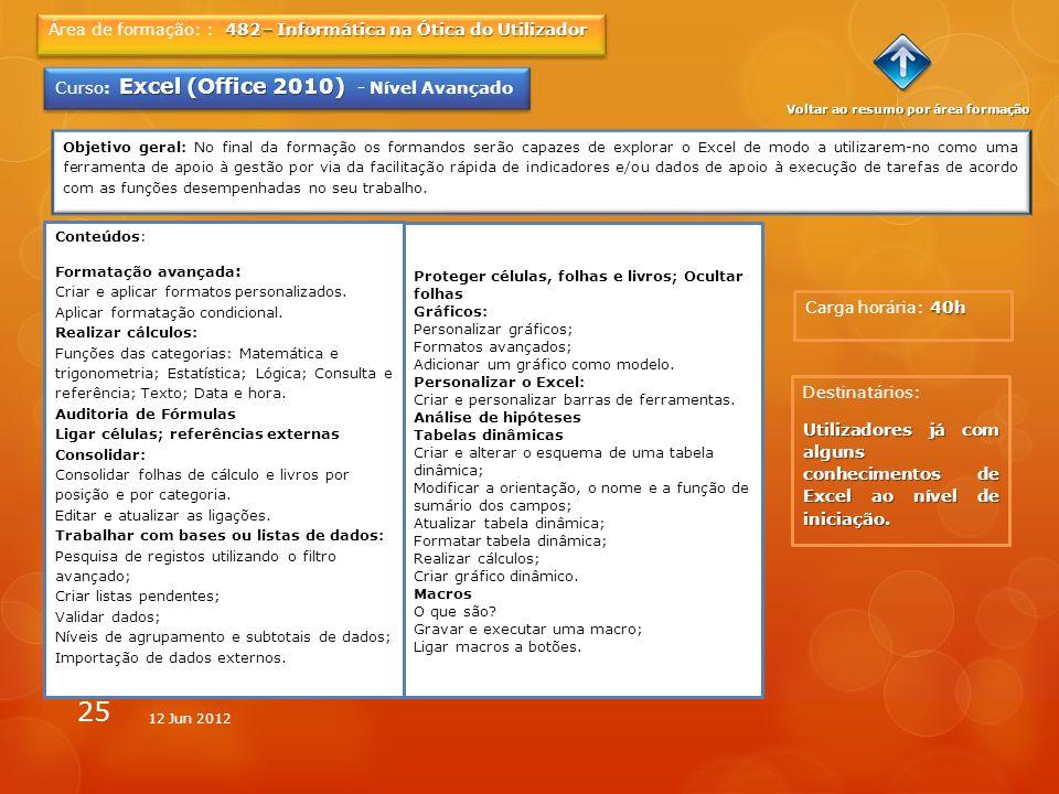 25 40h Carga horária: 40h 482– Informática na Ótica do Utilizador Área de formação: : 482– Informática na Ótica do Utilizador Excel (Office 2010) Curs