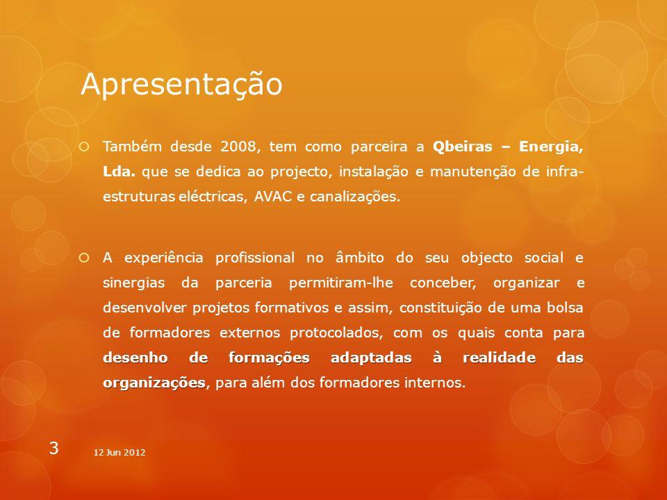 Apresentação Também desde 2008, tem como parceira a Qbeiras – Energia, Lda. que se dedica ao projecto, instalação e manutenção de infra- estruturas el