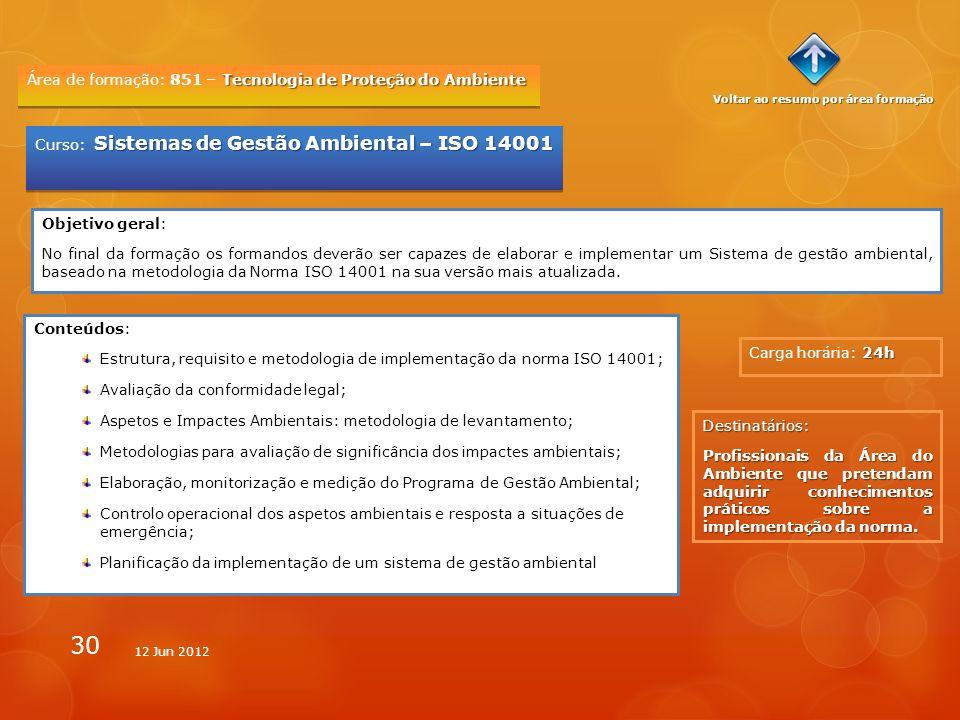 30 Tecnologia de Proteção do Ambiente Área de formação: 851 – Tecnologia de Proteção do Ambiente 24h Carga horária: 24h Sistemas de Gestão Ambiental –