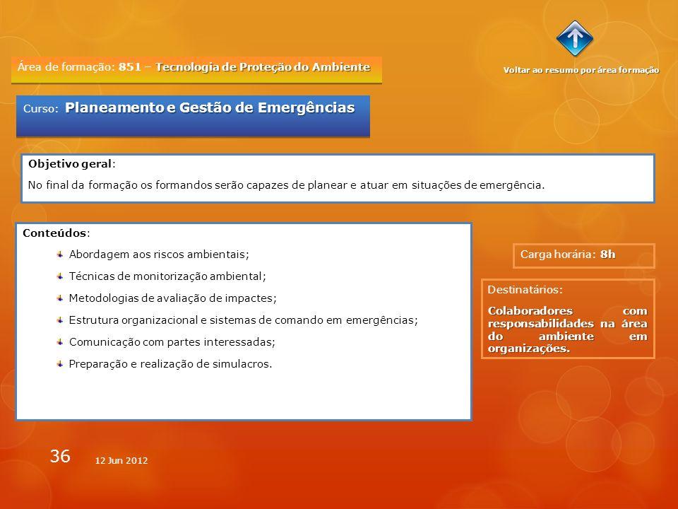 36 Tecnologia de Proteção do Ambiente Área de formação: 851 – Tecnologia de Proteção do Ambiente 8h Carga horária: 8h Planeamento e Gestão de Emergênc