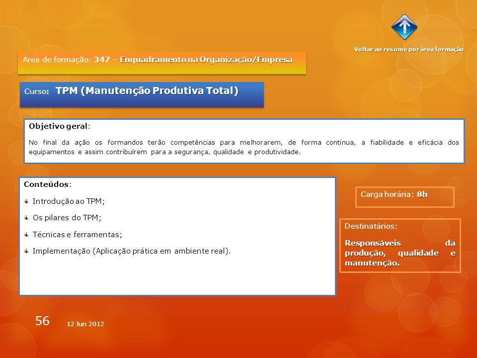 56 8h Carga horária: 8h Enquadramento na Organização/Empresa Área de formação: 347 – Enquadramento na Organização/Empresa TPM (Manutenção Produtiva To