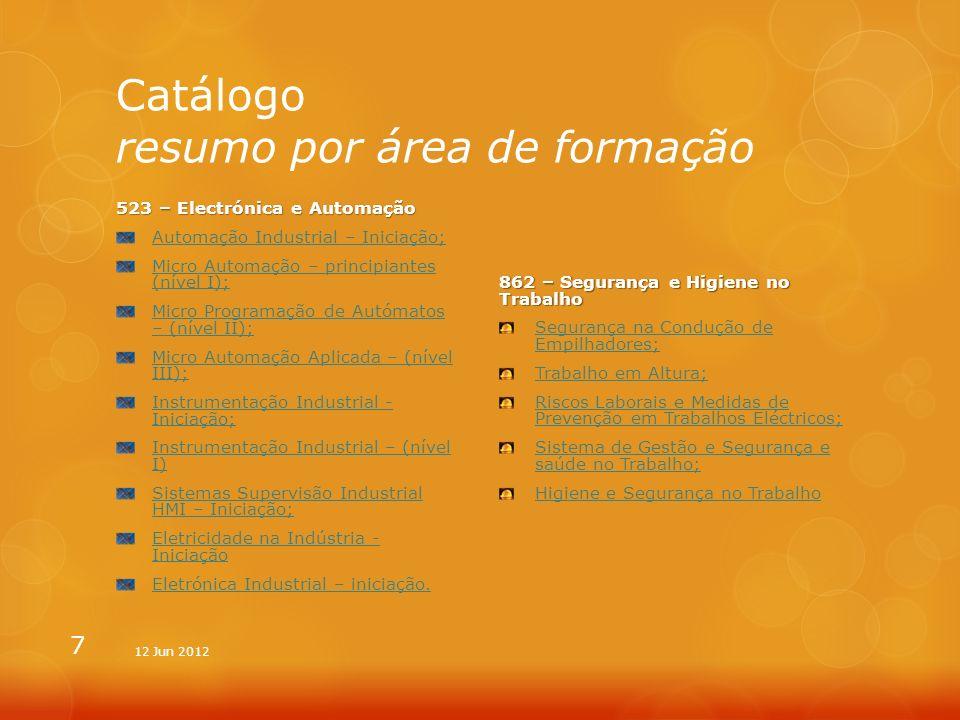 Catálogo resumo por área de formação 482 – Informática na Óptica do Utilizador Excel (office 2010) - iniciação; Excel (office 2010) - avançado; Microsoft Project; Microsoft Outlook (office 2010); Microsoft Word (office 2010) - avançado 851 – Tecnologia de Protecção Ambiente Sistema de Gestão Ambiental - ISO 14001; Identificação e Avaliação de Aspectos e Impactes Ambientais; Sistema Comunitário de ECO Gestão e Auditoria – EMAS; Gestão de Resíduos; Gestão de Resíduos de Construção e Demolição; Gestão Ambiental em Obra; Planeamento e Gestão de Emergências 8 12 Jun 2012