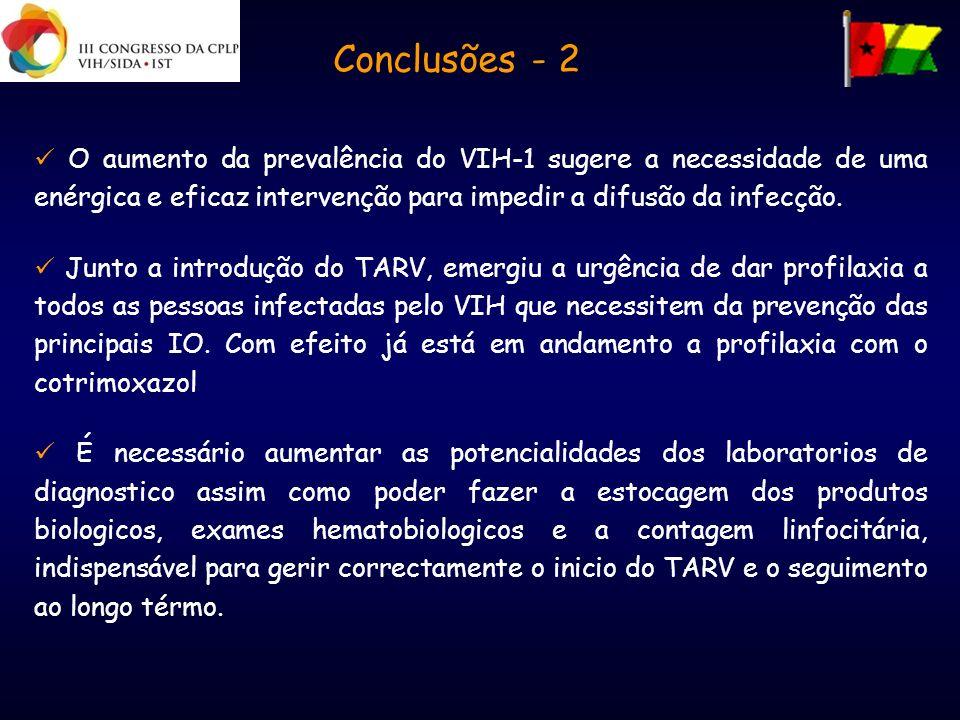Conclusões - 2 O aumento da prevalência do VIH-1 sugere a necessidade de uma enérgica e eficaz intervenção para impedir a difusão da infecção. Junto a