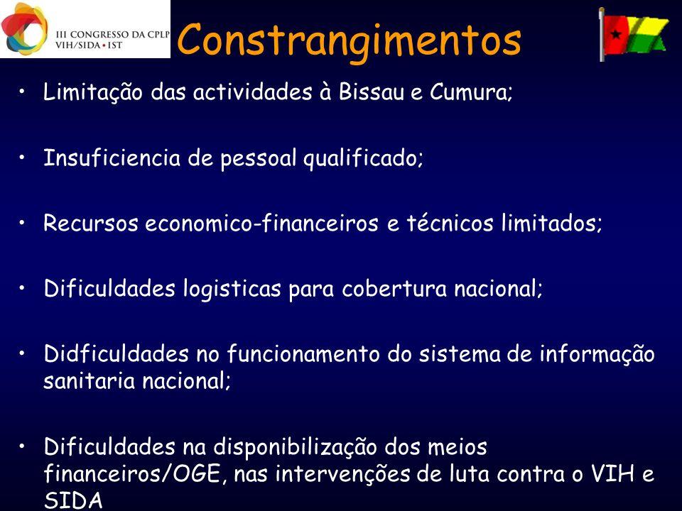Constrangimentos Limitação das actividades à Bissau e Cumura; Insuficiencia de pessoal qualificado; Recursos economico-financeiros e técnicos limitado