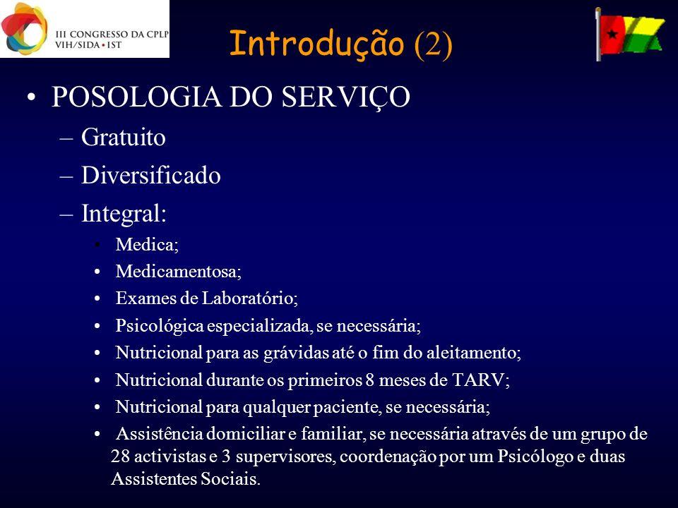 Introdução (2) POSOLOGIA DO SERVIÇO –Gratuito –Diversificado –Integral: Medica; Medicamentosa; Exames de Laboratório; Psicológica especializada, se ne