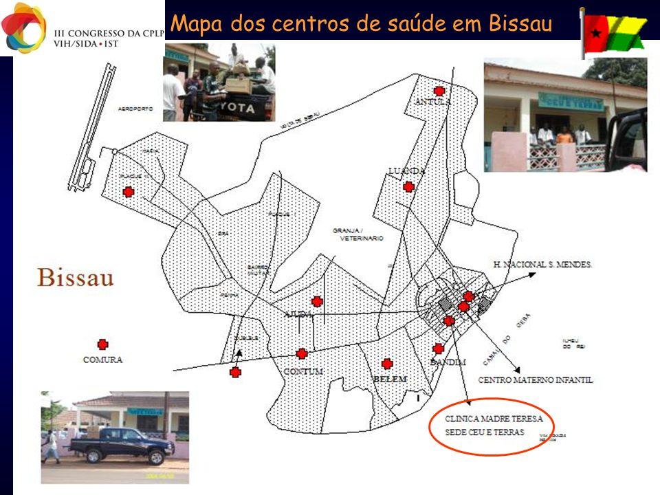 Mapa dos centros de saúde em Bissau