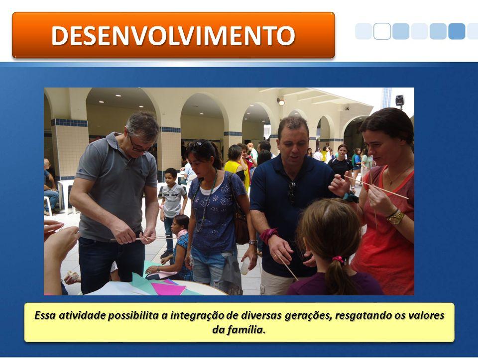 DESENVOLVIMENTODESENVOLVIMENTO Essa atividade possibilita a integração de diversas gerações, resgatando os valores da família.