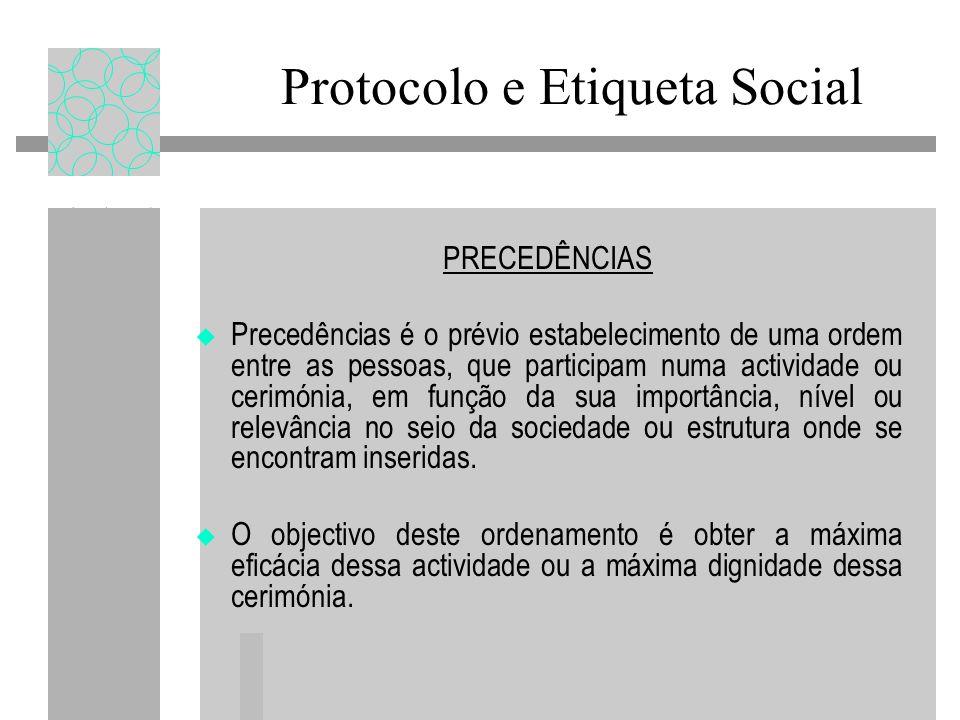 Protocolo e Etiqueta Social PRECEDÊNCIAS Precedências é o prévio estabelecimento de uma ordem entre as pessoas, que participam numa actividade ou cerimónia, em função da sua importância, nível ou relevância no seio da sociedade ou estrutura onde se encontram inseridas.
