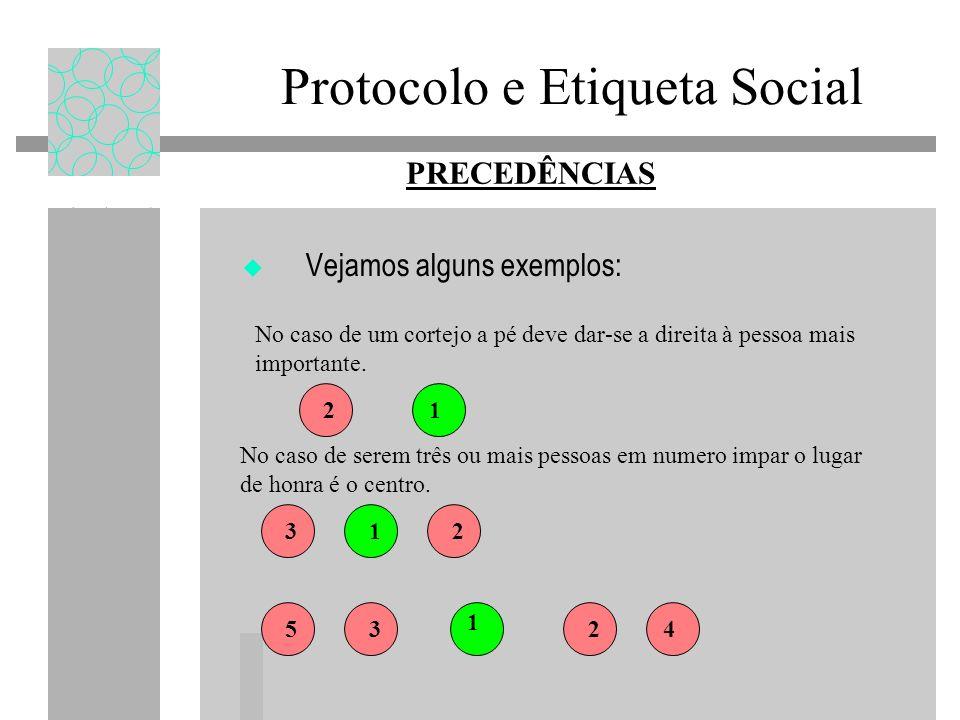 Protocolo e Etiqueta Social Vejamos alguns exemplos: 12 231 No caso de um cortejo a pé deve dar-se a direita à pessoa mais importante.