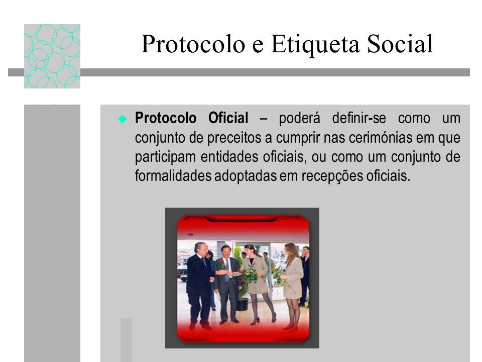 Protocolo e Etiqueta Social Protocolo Oficial – poderá definir-se como um conjunto de preceitos a cumprir nas cerimónias em que participam entidades o